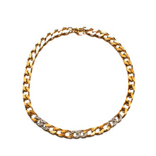 Load image into Gallery viewer, Gold and silver curb chain chocker with rhinestones from GIGI PARIS