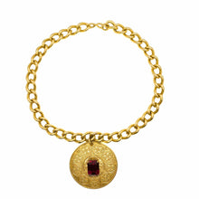 Load the image in the gallery, Chocker mesh convict round golden pendant and vintage pink stone from GIGI PARIS