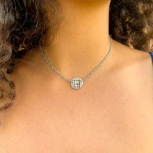 Load the image in the gallery, upcycled Chanel silver strass Chocker from GIGI PARIS