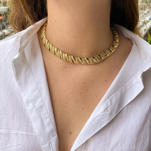 Load the image in the gallery, Shiny and matt golden choker with rhinestones from GIGI PARIS
