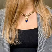 Load the image in the gallery, Agatha vintage gold and blue curb chain necklace from GIGI PARIS