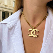 Upload image to gallery, Chanel brushed gold CC logo necklace with stars