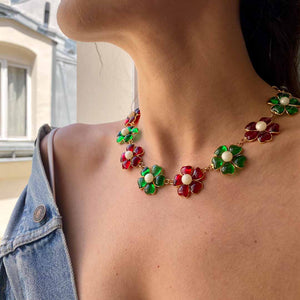 Gripoix necklace for Chanel golden red and green flowers in glass paste by GIGI PARIS