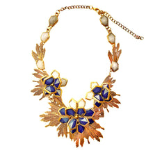 Load the image in the gallery, Imposing art deco flowered golden patinated necklace with shades of blue from GIGI PARIS