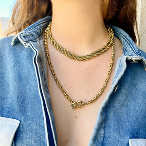 Gold and silver interwoven rope link necklace by Gigi Paris