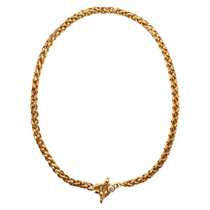 Patinated golden palm tree link necklace with TO clasp
