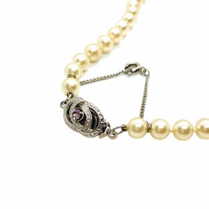 White pearl necklace with vintage silver clasp from GIGI PARIS