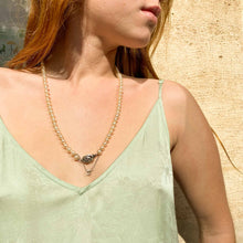 Load the image in the gallery, White pearl necklace with vintage silver clasp from GIGI PARIS