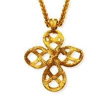 Load the image in the gallery, Chanel long necklace golden mesh jaseron cross pendant intertwined strings from GIGI PARIS