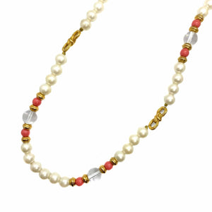 Long necklace white pearls and vintage coral from GIGI PARIS