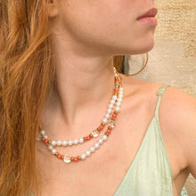 Load the image in the gallery, Long necklace white pearls and vintage coral from GIGI PARIS