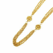 Load the image in the gallery, Vintage sunflower triple cable chain necklace from GIGI PARIS