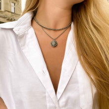 Load the image in the gallery, Upcycled Chanel Paris silver necklace by Gigi Paris