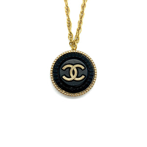 Black Chanel Shell upcycled necklace from GIGI PARIS