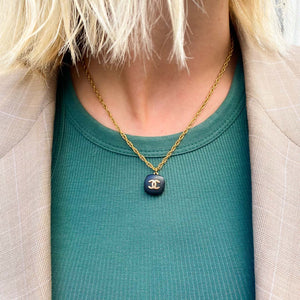 Chanel black square upcycled necklace from GIGI PARIS