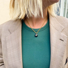 Load the image in the gallery, Chanel black square upcycled necklace from GIGI PARIS