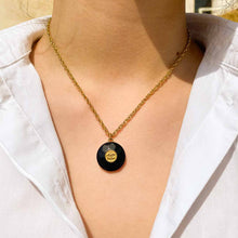 Load the image in the gallery, Chanel black geometric upcycled necklace from GIGI PARIS