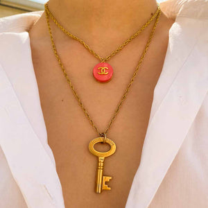 Pink Chanel upcycled necklace from GIGI PARIS