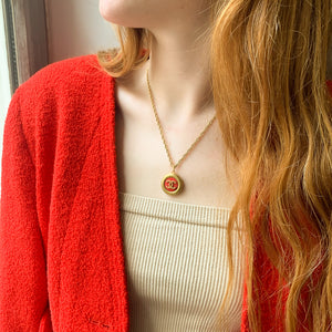 Upcycled Chanel red necklace from GIGI PARIS
