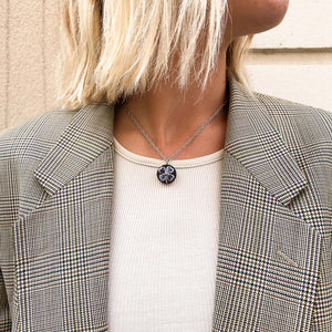 Chanel upcycled midnight blue clover necklace