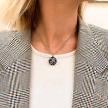 Load the image in the gallery, Chanel midnight blue clover upcycled necklace