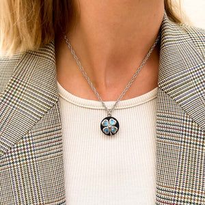 Upcycled Chanel turquoise clover necklace from GIGI PARIS