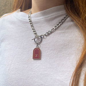 Upcycled Louis Vuitton burgundy necklace from GIGI PARIS