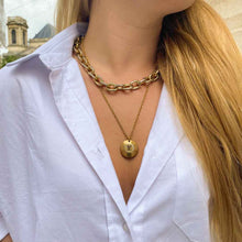 Load the image in the gallery, Upcycled Louis Vuitton bronze necklace from GIGI PARIS