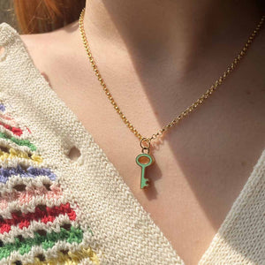 Louis Vuitton upcycled turquoise key necklace