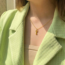 Load the image in the gallery, Upcycled Louis Vuitton green key necklace from Gigi paris