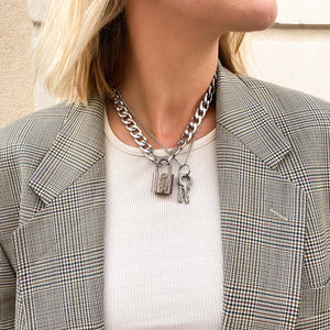 Upcycled Louis Vuitton silver padlock necklace from GIGI PARIS