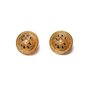 Round golden hammered pearl rope style earrings with blue applats from GIGI PARIS