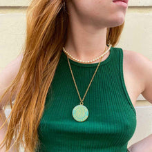 Load the image in the gallery, Louis Vuitton dark turquoise upcycled necklace from GIGI PARIS