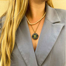 Load the image in the gallery, Louis Vuitton midnight blue upcycled necklace from GIGI PARIS