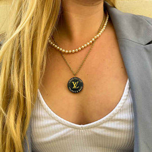 Louis Vuitton midnight blue upcycled necklace from GIGI PARIS