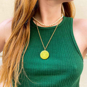 Louis Vuitton anise green upcycled necklace from GIGI PARIS