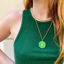 Load the image in the gallery, Louis Vuitton upcycled apple green necklace from GIGI PARIS