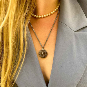 Upcycled Yves Saint Laurent silver necklace from GIGI PARIS