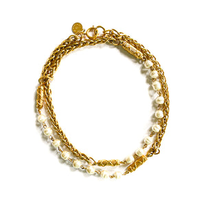 Gontie golden round palm tree long necklace with pearly pearls by Gigi Paris