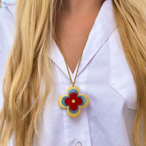 Louis Vuitton upcycled long necklace with monogram flower from GIGI PARIS