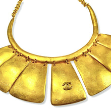 Load the image into the gallery, Chanel ethnic gold plated chocker in an arc with 7 dangling plates and CC logo