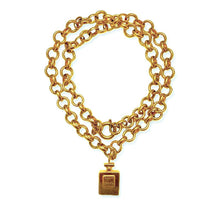 Load the image in the gallery, Chanel long necklace golden pendant Coco chanel perfume jaseron mesh buoy clasp