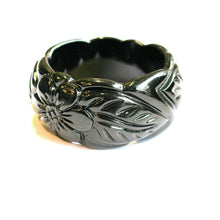 Load the image in the gallery, Black bakelite flower and foliage bracelet