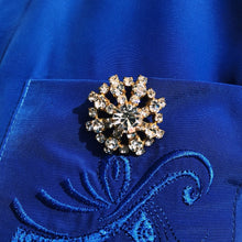 Load the image in the gallery, Golden faux diamond brooch and abstract flower rhinestones from GIGI PARIS