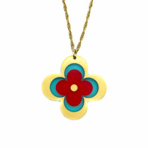 🌹 Louis Vivi upcycled long necklace with monogram flower