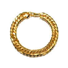 Load the image in the gallery, Thick golden chain bracelet with curb link