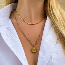 Load image into Gallery viewer, Small golden upcycled necklace