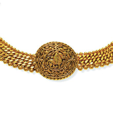 Load the image in the gallery, Golden Chanel belt ball mesh and curb chain with patinated horse medallion