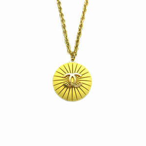 Chanel yellow shell upcycled necklace