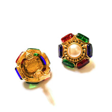 Load the image in the gallery, Chanel pearl earrings rimmed colored cabochons from GIGI PARIS